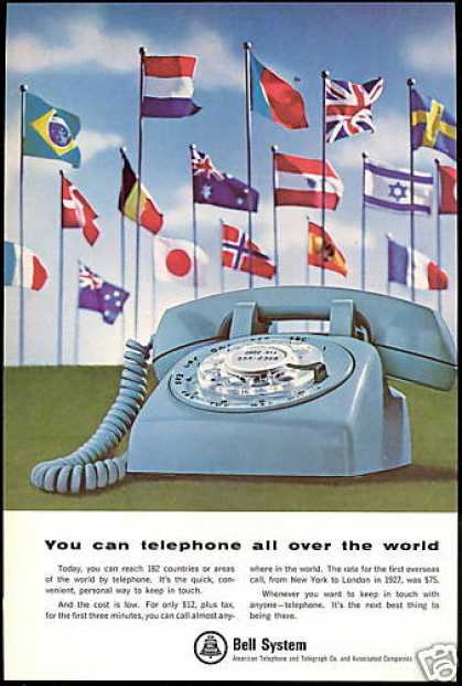 Rotary Dial World Flags Telephone Bell System (1965)