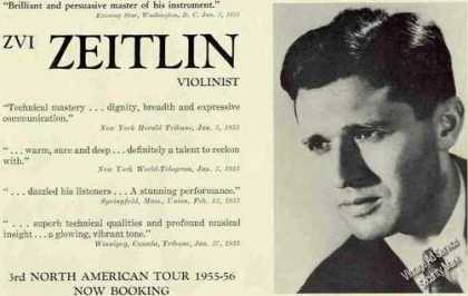 Zvi Zeitlin Photo Violinist Booking (1955)