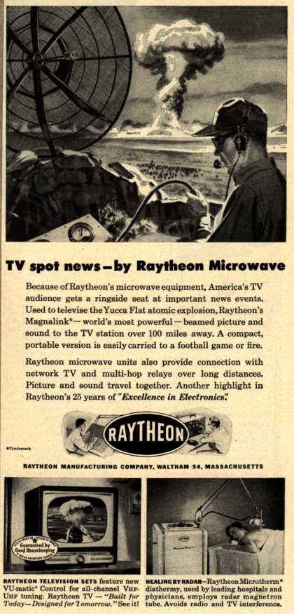 Raytheon Manufacturing Company's Various – TV spot news – by Raytheon Microwave (1953)