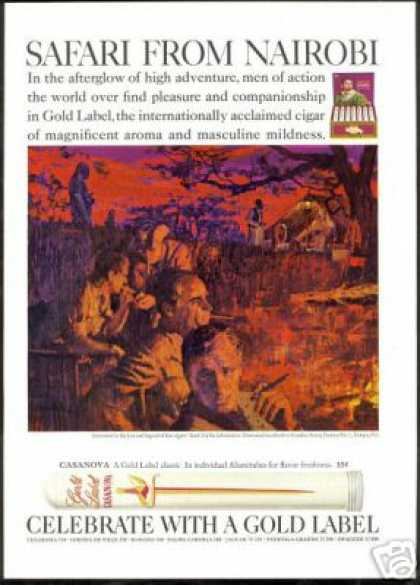 Nairobi Safari Art Gold Label Cigar Casanova (1968)