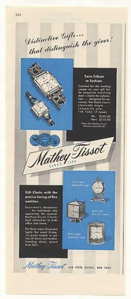 Mathey-Tissot Watches Gift Clocks Vintage (1948)