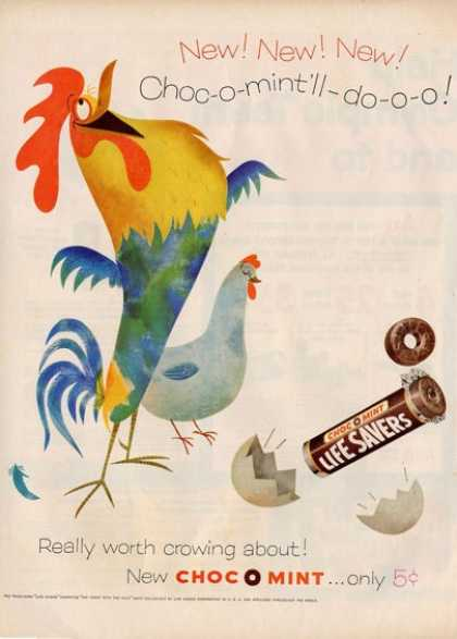 Life Savers Rooster Hen Room Decor Ad T (1956)