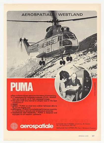 Aerospatiale Westland Puma Helicopter Photo (1972)