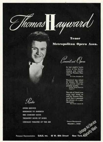 Thomas Hayward Photo Tenor Opera Booking (1947)