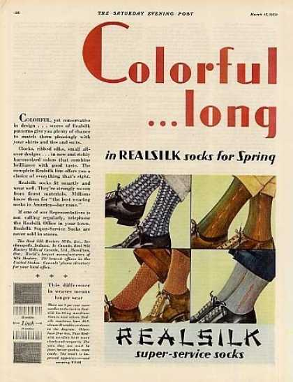 Real Silk Hosiery Color Ad 2 Page (1930)