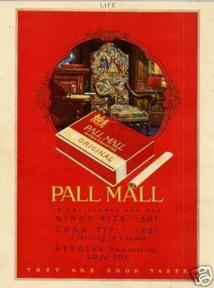 Pall Mall Cigarettes Color (1926)