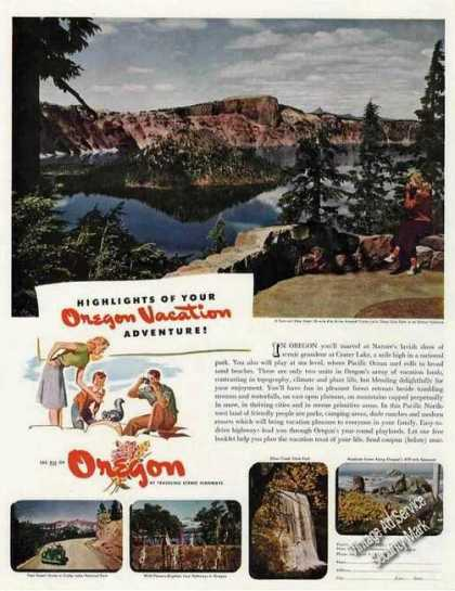 Crater Lake Oregon From Rim Drive Rare Travel (1947)