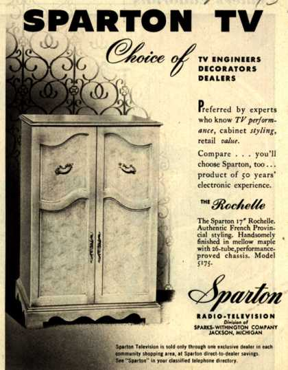 Sparton Radio-Television's The Rochelle – Sparton TV Choice of TV Engineers Decorators Dealers (1951)