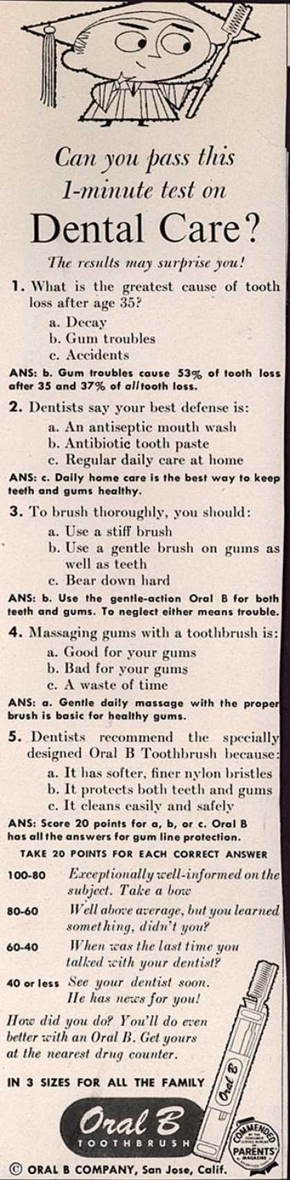 Oral B Company's Oral B Toothbrush – Can you pass this 1-minute test on Dental Care? (1957)