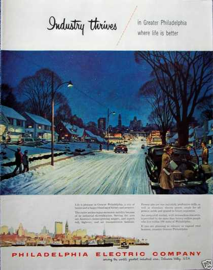 Philadelphia Electric Winter Evening Snow City (1955)