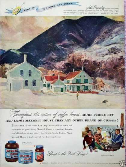 Maxwell House Coffee Ski Country Mountain Snow (1948)