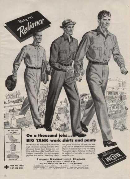 Reliance Big Yank Mens Work Clothes Print (1944)
