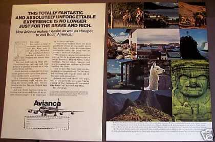 Avianca Airlines South America 2pg Travel (1975)