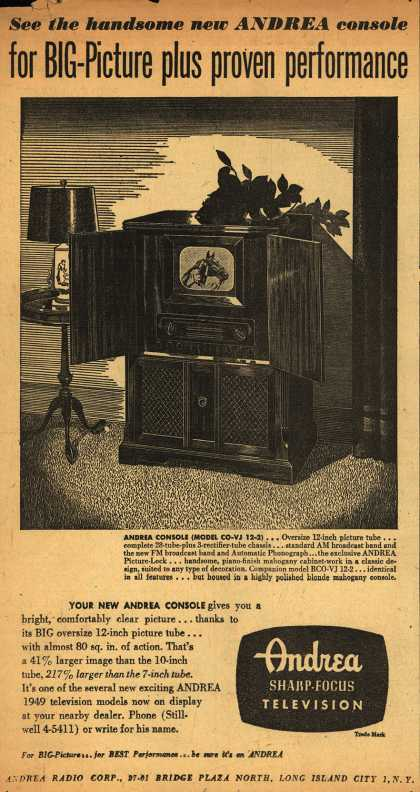 Andrea Radio Corporation's Andrea Console (Model CO-VJ 12-2) – See the Handsome New Andrea Console for Big-Picture Plus Proven Performance (1948)