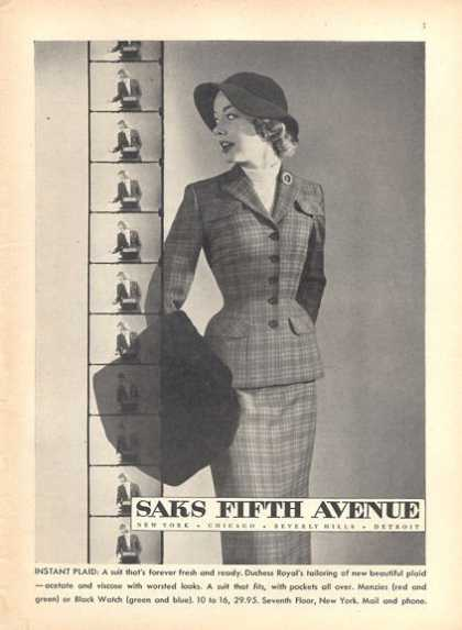 Saks Fifth Avenue Ladies Fashion Plaid (1952)