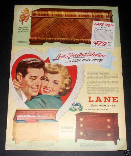 Lane Cedar Hope Chest, Valentine, Ex (1949)
