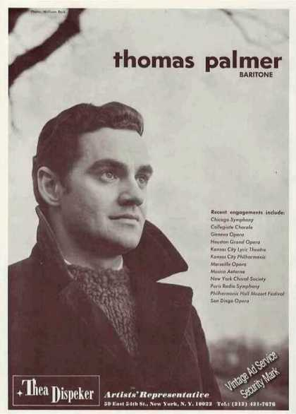 Thomas Palmer Photo Baritone Opera (1967)