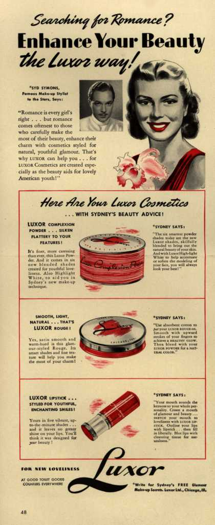 Luxor Limited's Luxor Cosmetics – Searching for Romance? Enhance Your Beauty the Luxor way (1940)