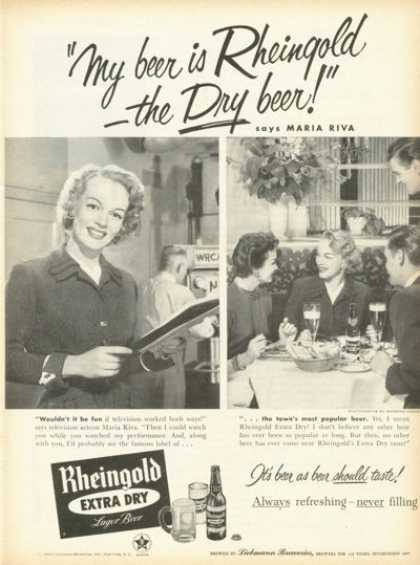 Rheingold Lager Beer Ad Maria Riva (1955)