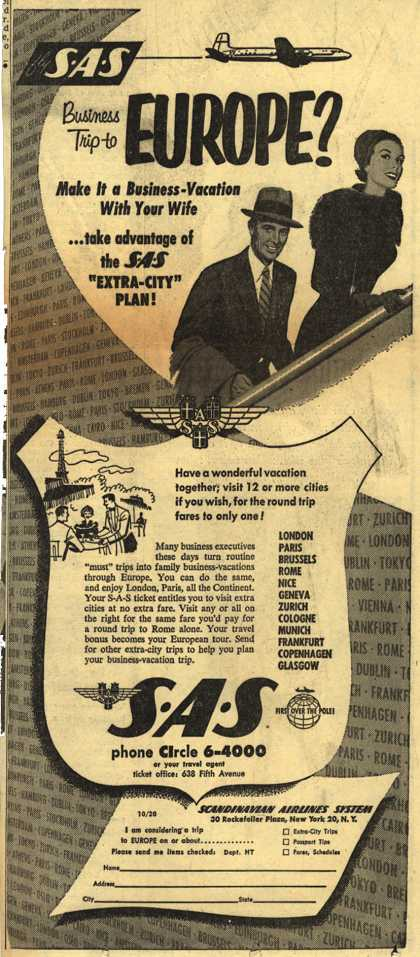 """Scandinavian Airlines System's Business-Vacation """"Extra-City"""" Plan – Business Trip to Europe? (1953)"""