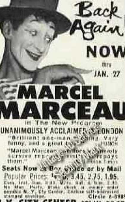 Marcel Marceau Photo Ny City Center Theater (1963)