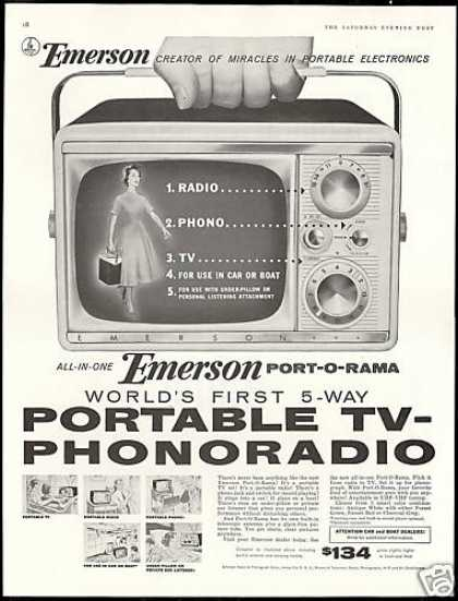 Emerson Portable TV Television Phonoradio (1956)