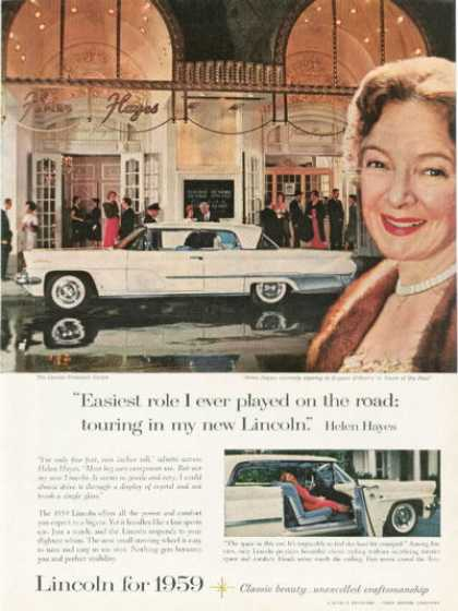 Ford Lincoln Premiere Coupe Ad Helen Hayes (1959)