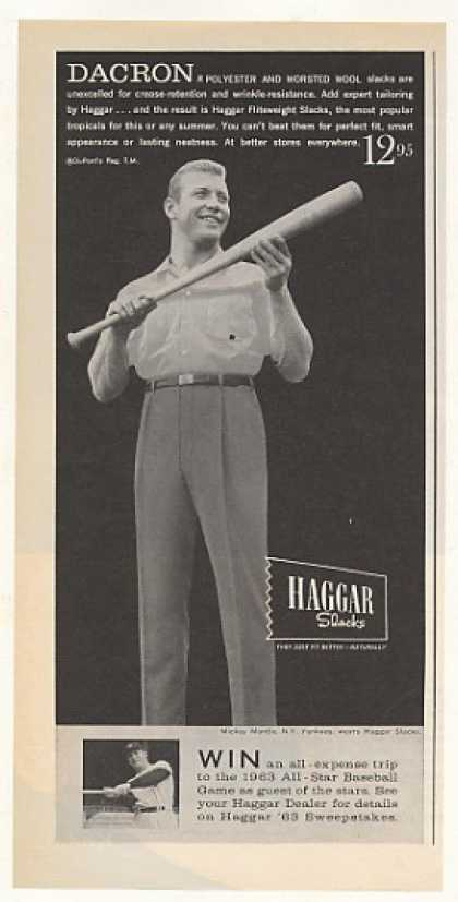 NY Yankees Mickey Mantle Haggar Slacks Photo (1963)