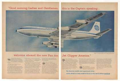 Pan Am Airlines Jet Clipper America 2-Page (1958)