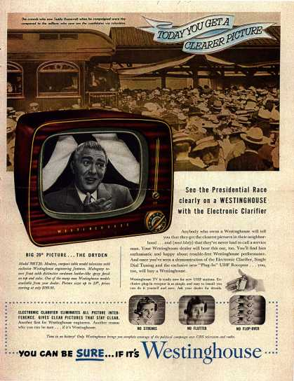 Westinghouse Electric Corporation's Television – See the Presidential Race clearly on a Westinghouse (1952)