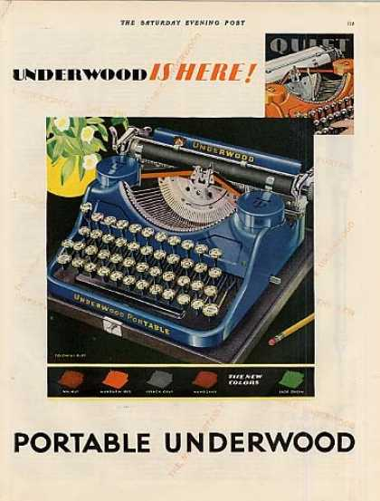Underwood Typewriter Color Ad 2 Page (1931)