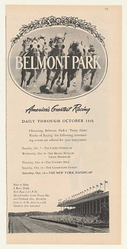 Belmont Park Horse Racing October Schedule (1947)