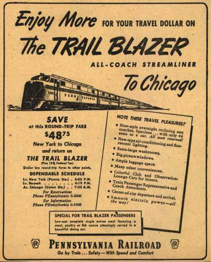 Pennsylvania Railroad – Enjoy More For Your Travel Dollar On The Trail Blazer All-Coach Streamliner To Chicago (1950)