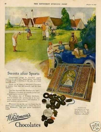 "Whitman's Chocolate Candy Ad ""Sweets After Sports (1925)"