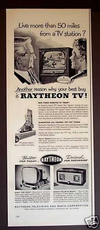 Raytheon Television Tv Set Clock Radio (1952)