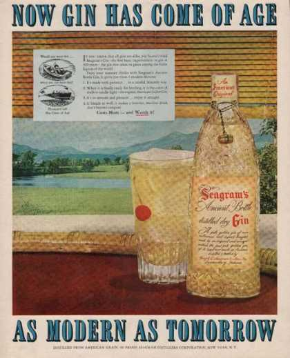 Seagrams Ancient Bottle Distilled Dry Gin (1951)