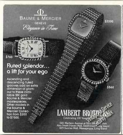 "Baume & Mercier Wristwatches ""Fluted Splendor"" (1977)"
