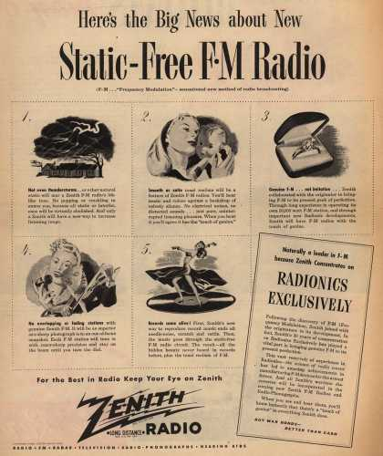 Zenith Radio Corporation's Radio – Here's the Big News about New Static-Free FM Radio (1945)