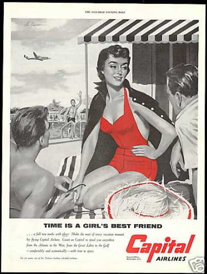 Capital Airways Pretty Woman Swimsuit Vacation (1954)
