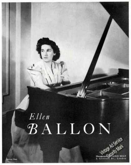 Ellen Ballon Photo Pianist Booking (1939)