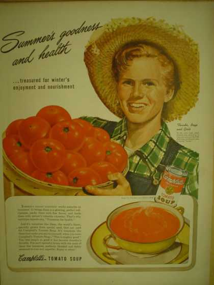 Campbells Tomato Soup. Summers goodness and health (1944)