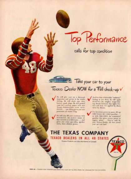 Texaco Ad Football Reciever Great Period Uniform (1948)