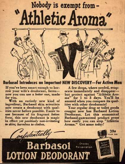"Barbasol – Nobody is exempt from ""Athletic Aroma"" (1947)"
