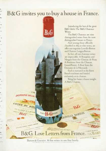 Barton & Guestier Chateaux Wine France (1972)