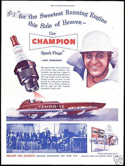 Power Boat Tempo VI Guy Lombardo Champion Plug (1952)