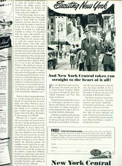 New York Centeral 1/2 Pg C Ad Exciting New York (1948)
