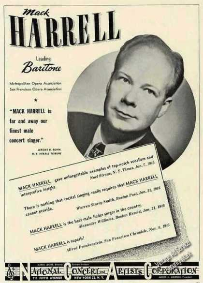 Mack Harrell Photo Baritone Opera Trade (1946)