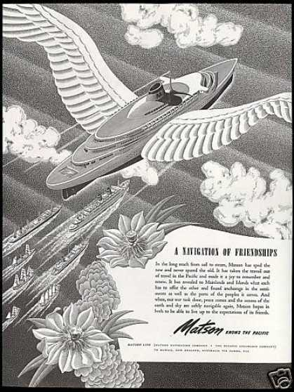 Matson Line Cruise Ship When Peace Comes Wings (1944)