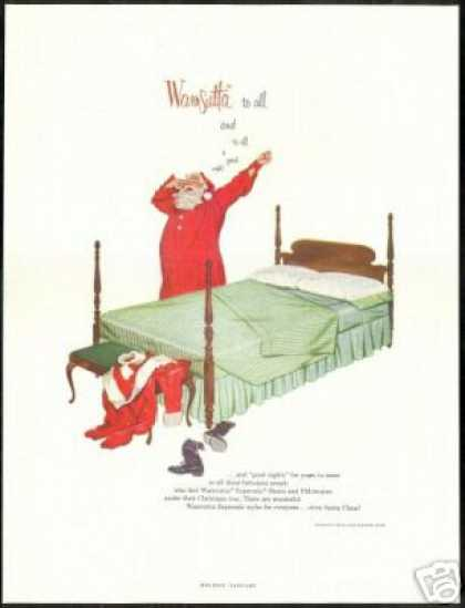 Wamsutta Mills Bed Sheet Santa Claus (1955)