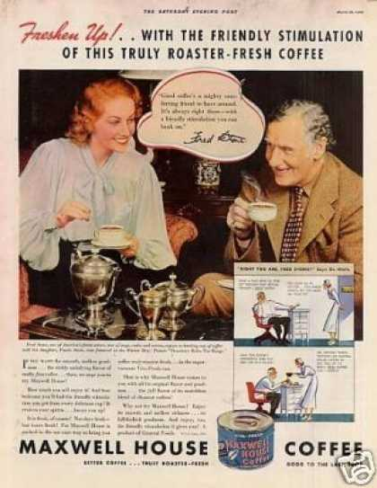 Maxwell House Coffee Ad Fred Stone (1936)